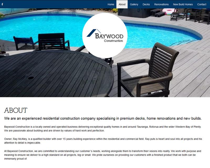 Baywood Construction Tauranga Website Designed by JeRo