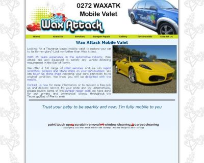 Wax Attack Mobile Valet Web Site Design by JeRo in Tauranga